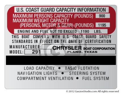Boat capacity plate decal label chrysler boat corporation 291