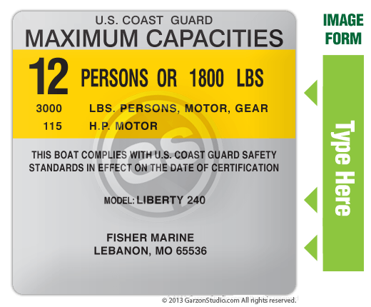 Boat capacity plate decal for Boat 4x4 type F MAXIMUM CAPACITIES PLATE DECAL VERSION 