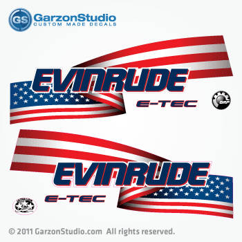 EVINRUDE ETEC Outboard star and stripes decals for white