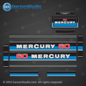 MERCURY 60 hp 1980-1982 decal set