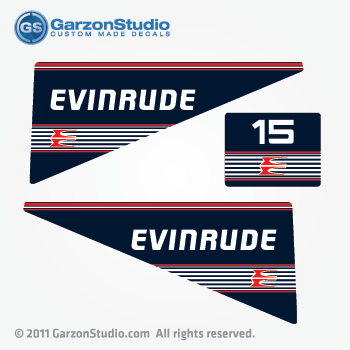 Evinrude Outboard Decals 15 Hp 80 S 90 S Navy Blue Red Stripes Johnsondecals Com
