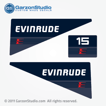 EVINRUDE Outboard decals 15 hp 80's 90's Navy Blue