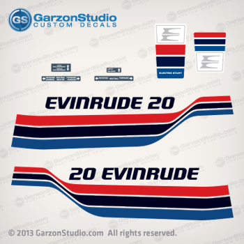 DECAL SET OUTBOARD DECALS EVINRUDE 25hp
