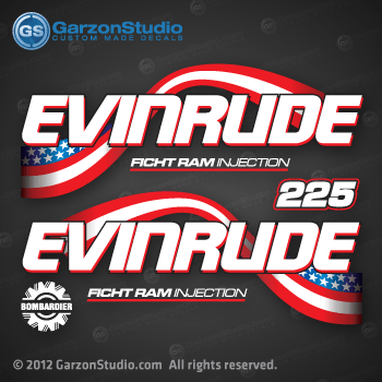 2003 2004 2005 Evinrude 225 Hp Decal Set Johnsondecals Com