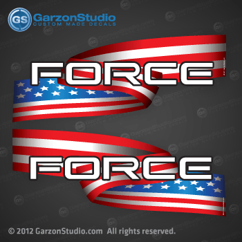Force outboard decal set american flag usa us united states U.S. design by GarzonStudio.com