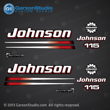2002, 2003, 2004, 2005, 2006 Johnson 115 hp outboard decal set for