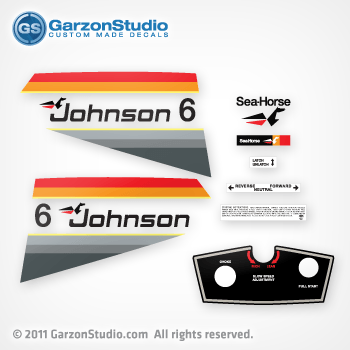 Johnson 2 hp decal set red/gray late 70's   JohnsonDecals com