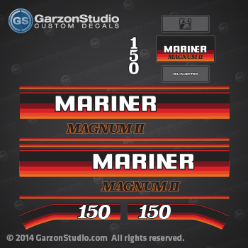 1988 mariner outboard decals 150 hp Magnum II Oil Injected stickers set 11625A88 150hp gray 