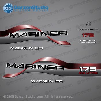 1996 1997 1998 Mariner 175 hp MAGNUM EFI 2.5 LITRE Decal set Red