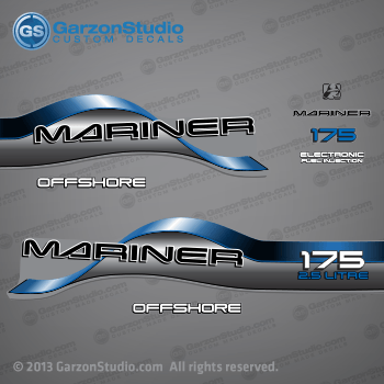 1996 1997 1998 Mariner 175 hp OFFSHORE 2.5 LITRE EFI Decal set Blue