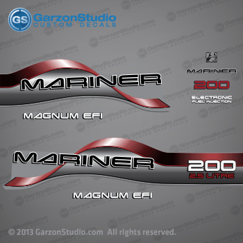1996 1997 1998 Mariner 200 HP MAGNUM EFI 2.5 LITRE EFI Decal set Red
