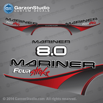 1999 - 2000 Mariner Outboard four stroke decal set - 50 hp - Red decal kit set decals