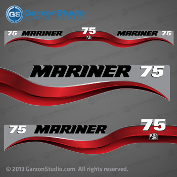 2003 - 2012 Mariner Outboard decal set - 75 hp - Red decal kit set - 2004 2005 2006 2007 2008 2009 2010 2011 75hp decals