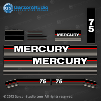 1990 MERCURY 75 hp decal set