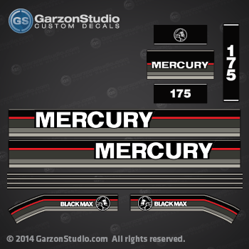 NEW OUTBOARD OEM MERCURY 2.5 XRI  DECALS  AS SHOWN IN PICTURE SET//2