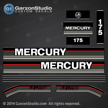 1992 1993 Mercury 175hp DECAL SET 2.5 litre