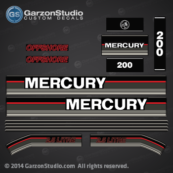 MERCURY 150 hp 1991 1992 1993 decal set  DECAL SET  2.5 litre