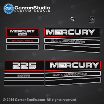 1994-1998 MERCURY 225 Offshore Outboard Decal kit  reproduction 200 hp