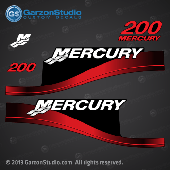 1999 2004 MERCURY 200 hp 200hp saltwater optimax fourstroke decal set 2000 2001 2002 2003 2005 2006 red