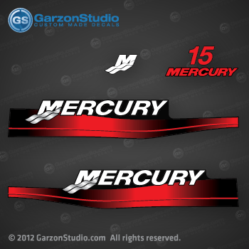 1999 2000 2001 2002 2003 2004 2005 2006 MERCURY 15 hp decal set red decals cowling graphics