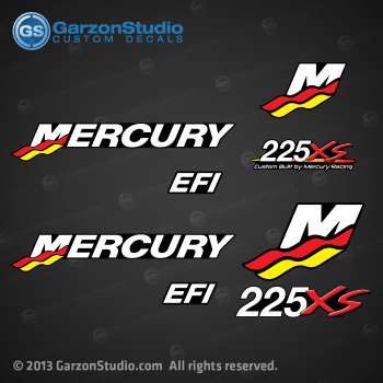 Mercury Racing 2000 2001 2002 2003 2004 2005 2006 225 hp 225hp 225xs 225 xs EFI decal set Mercury racing decals for your EFI motor cowling direct injection Custom Built by Mercury Racing M logo decals kit sticker stickers