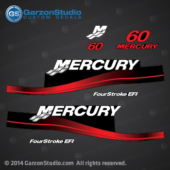 2002 2003 2004 2005 MERCURY 60 hp decal set red 60hp decals cowling graphics