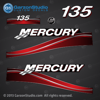 2005 2006 2007 MERCURY 135 hp decal set Red 135hp decals cowling graphics sticker
