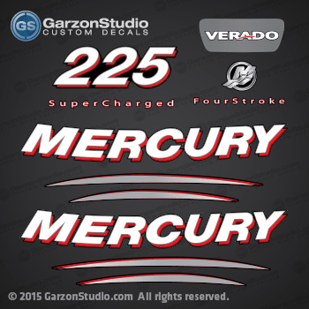Mercury 2006 2005 225 hp 225hp VERADO 225 REAR DECAL Mercury decals sticker stickers four stroke 4 stroke supercharged 859271A05 37-859271A05