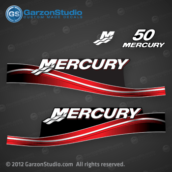 2005 2006 2007 2008 2009 MERCURY 50 hp decal set red 50hp decals cowling graphics