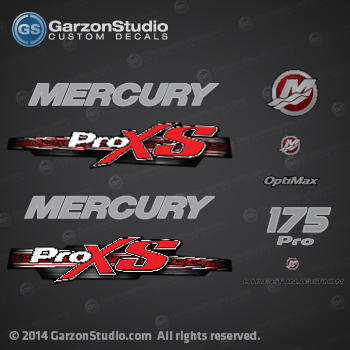 2013 Mercury 175 hp Optimax Pro XS decal set Red