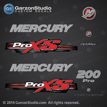 2013 Mercury 200 hp Optimax Pro XS decal set Red 200hp proxs direct injection M logo sticker set kit replica