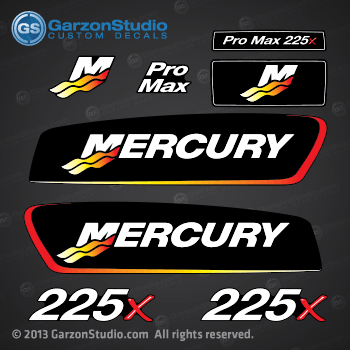 2002-2004 Mercury Racing 225 hp Pro Max 225x decal set.