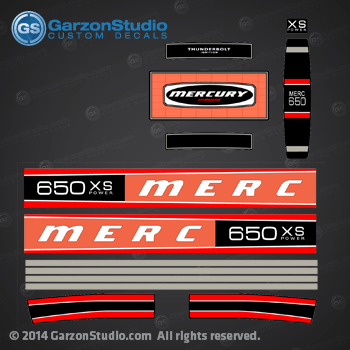 MERCURY RACING 650 xs 1976 DECAL SET