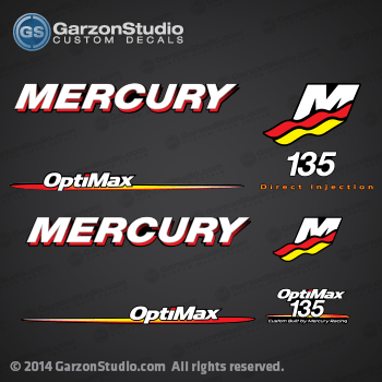 Mercury Racing 2006 2007 208 2009 2010 2011 2012 135 hp 135hp 135 135 xs Optimax  decal set Mercury racing decals for your Optimax motor cowling  direct injection Custom Built by Mercury Racing M logo decals kit sticker stickers
