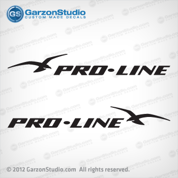 proline Pro-Line BOAT DECAL set boats decals  1994 1995 1996 1997 1998 1999 2000 2001 2002 2003 2004 2005 2006 and 2007 gold black vinyl boat  hull