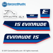 Evinrude Outboard decals 15 horsepower 1975