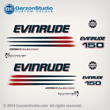 2004 2005 2006 EVINRUDE 150 hp DIRECT INJECTION BOMBARDIER decals set kit WHITE ENGINE COVERS