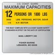 Boat capacity plate decal for Boat 4X4 layout F