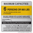 U.S. Coast Guard Capacity Information Maximum Capacities plate decal