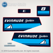 1985 Evinrude Outboard decals 8 hp yachtwin horsepower 8hp 
