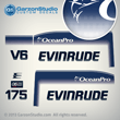 1993 1994 1995 1996 1997 Evinrude 175 hp OceanPro decal kit Ocean Pro decals 175hp decal set stickers v6