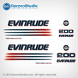 2002 2003 2004 2005 EVINRUDE 200 hp BOMBARDIER FICHT RAM INJECTION decals set kit