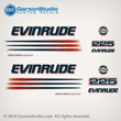 2002 2003 2004 2005 EVINRUDE 225 hp BOMBARDIER FICHT RAM INJECTION decals set kit