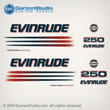 2002 2003 2004 2005 EVINRUDE 250 hp BOMBARDIER FICHT RAM INJECTION decals set kit