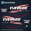 2004 2005 2006 2007 2008 EVINRUDE ETEC 200 H.O. h.p. 200hp Stars and Stripes flag decal set hx hl blue models