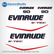 2004-2009 EVINRUDE ETEC 90 hp decal set White Engines Only