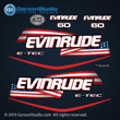 2004 2005 2006 2007 2008 2009 evinrude e-tec stars and stripes flag decal set for blue navy dark 60 HP engines motor cover 60hp