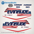 2004 2005 2006 2007 2008 2009 evinrude e-tec stars and stripes flag decal set for white 60 HP engines motor cover 60hp