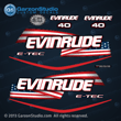 2004 2005 2006 2007 2008 2009 evinrude e-tec stars and stripes flag decal set for blue navy dark 40 HP engines motor cover 40hp