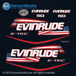 2004 2005 2006 2007 2008 2009 evinrude e-tec stars and stripes flag decal set for blue navy dark 50 HP engines motor cover 50hp